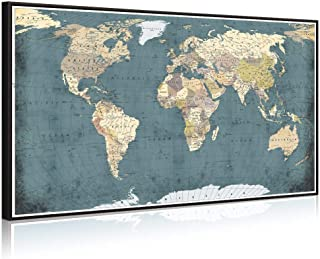 Welmeco Large Office Wall Decoration Retro Detailed World Map Canvas Prints with Premium Black Frame Vintage Push Pins Travel Map of The World Picture Artwork for Modern Home Office Living Room Decor