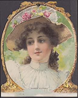 Hood's Sarsaparilla Calendar card 1894 Sweet Sixteen girl in flowered hat
