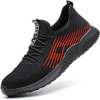 Zapatillas de Seguridad Hombres Hembra, Zapatos de Trabajo con Punta de Acero Ultra Liviano Suave y cómodo Industriales Tr...