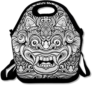 Insulated Lunch Bag for Women Men Girl Monster Pattern Barong Ritual Balinese Mask Demon Bali Black White Asia Abstract Design Ornate Reusable Lunch Tote for Office Work