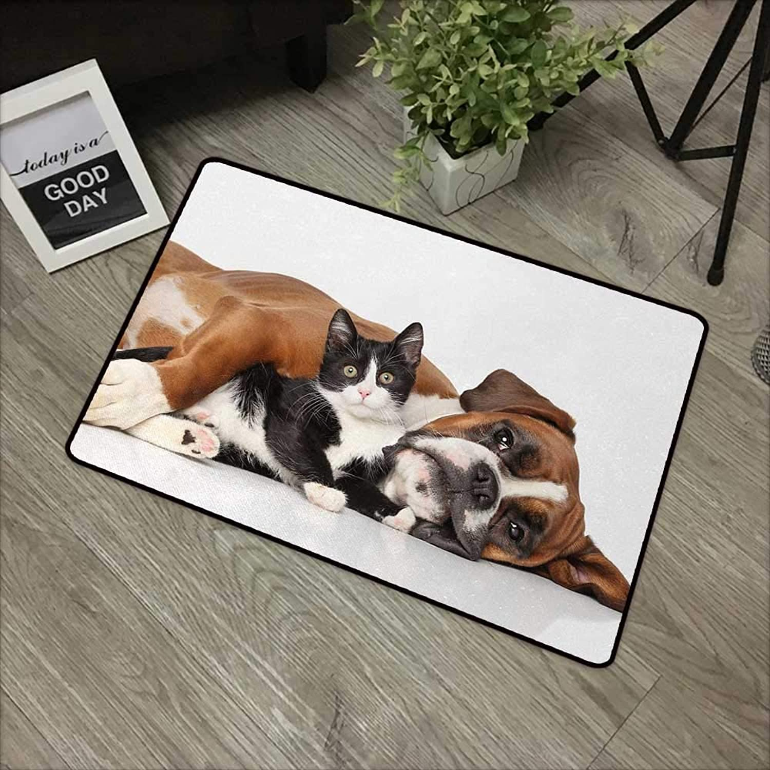 Interior Door mat W35 x L59 INCH Funny,Cat and Dog Cuddling Lying on Floor Friendship Theme Cute Animals Togetherness,Brown Black White Non-Slip, with Non-Slip Backing,Non-Slip Door Mat Carpet