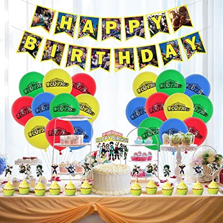 Set of 50 Pcs REVINNEY Anime My Hero Academia Birthday Party Supplies Party Favors All Might Balloons Banner Cake Cupcake Toppers Set for Party Decorations