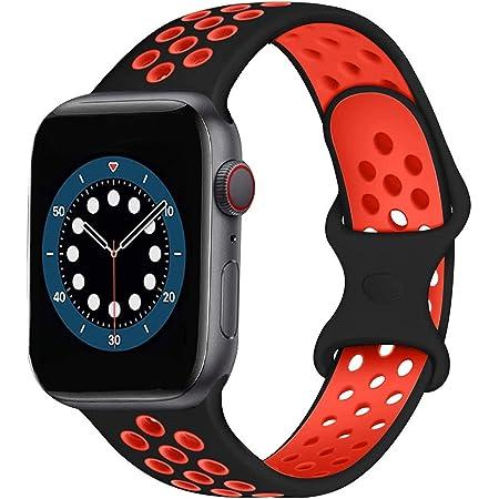 AIGENIU コンパチブル Apple Watch バンド 2個留め金具の多空気穴通気性 シリコン スポーツ バンド Compatible for アップルウォッチ バンド 42mm 44mm Apple Watch Series 6/SE/5/4/3/2/1に対応 (42/44mm ML, ブラック&赤)