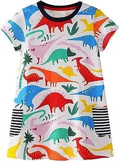 Girl Cotton Casual Dress with Dinosaur Print Summer Dress Short Sleeve T-Shirt Dress