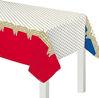 """Wonder Woman Classic"" Red and Gold Plastic Party Table, Cover 54"" x 96"""