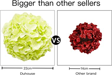DuHouse Artificial Hydrangea Silk Flower Heads with Stem Fake Blue Hydrangea Bigger Flowers for Wedding Home Garden Centerpie