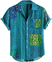 Turn Down Collar Shirts for Men, Vintage Ethnic Printed Short Sleeve Loose Casual Shirts