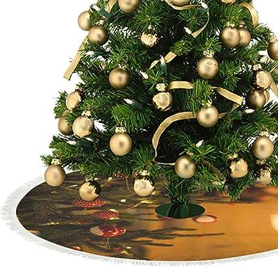 kikomia - Falda para árbol de Navidad (Felpa Corta), Color Dorado ...