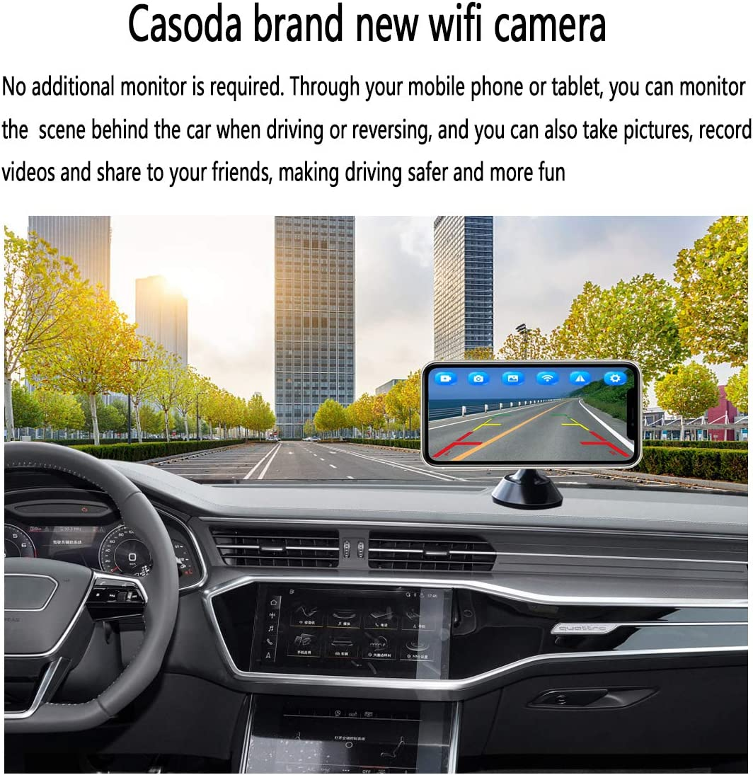 Casoda WiFi Wireless License Plate Backup Camera for iPhone and Android Ultra Strong Signal Smooth Video Image Never Freezing Clear Picture Suitable for Cars Trucks Trailers SUVs Easy to Install