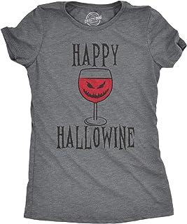 Crazy Dog Tshirts - Happy Hallowine Funny Halloween Wine Gla