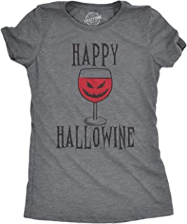 Happy Hallowine Funny Halloween Wine Glass Drinking Tshirt for Woman