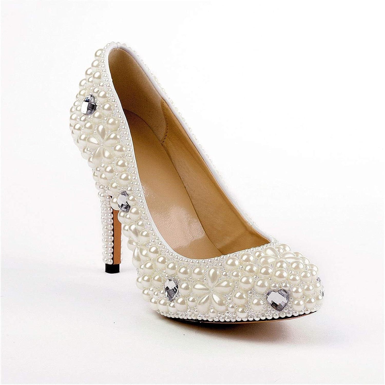 From HandMade HandMade Mode Hochzeit Pumpen für Frauen Dekor mit Perlen  Strass Slip On Sandalen Kleid 12cm Stiletto (Farbe   Pearl Weiß, Größe   35 EU)  der niedrigste Preis