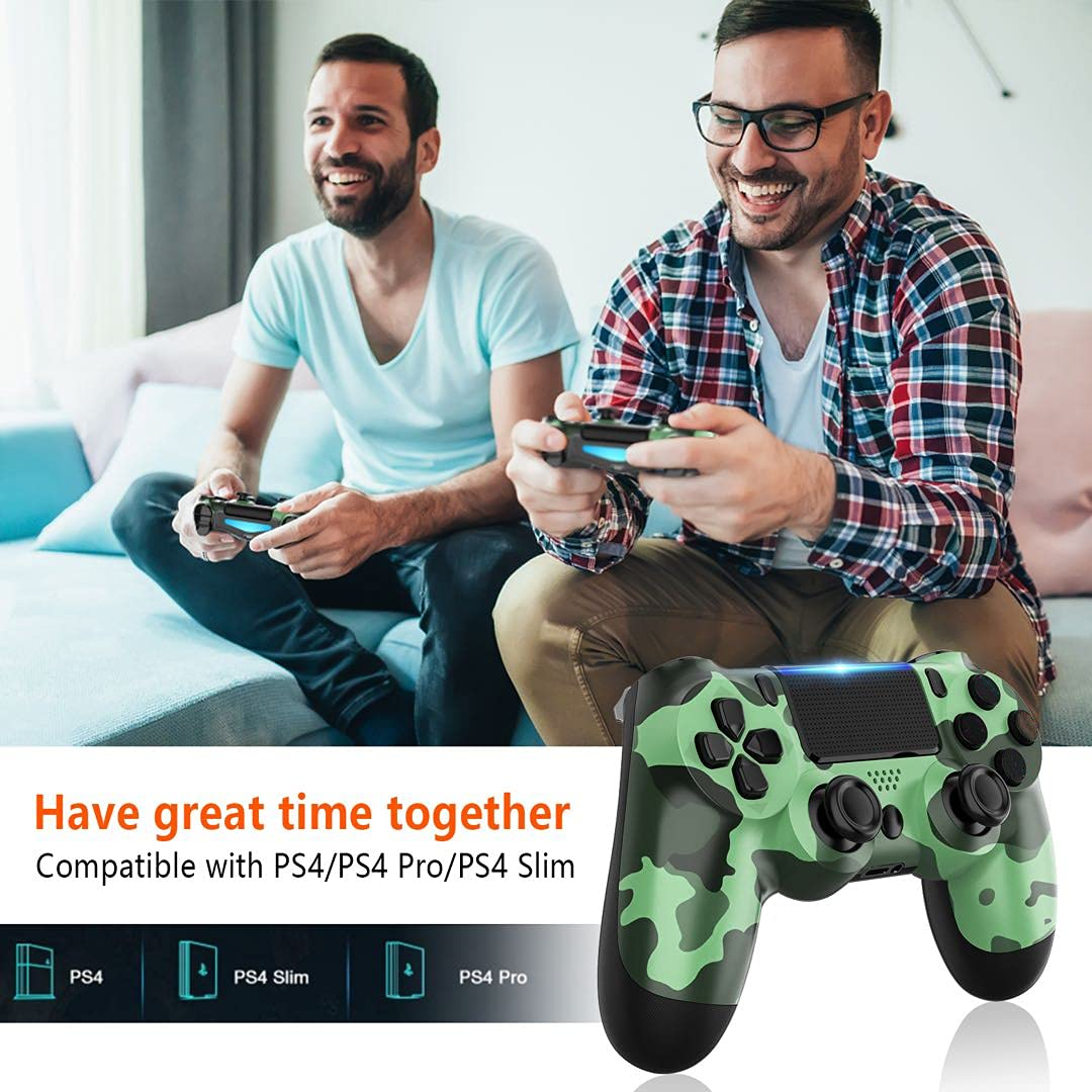 GOLDJU Wireless Controller for P-S4, Game Controller Compatible with P-S4/P-S4 Slim/P-S4 Pro Console (Green Camo)