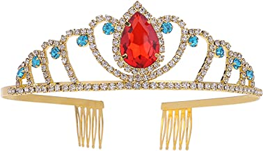 Metal Princess Crown Queen Party Supplies Hair Tiara Gold Crowns with Red Crystal and Side Combs