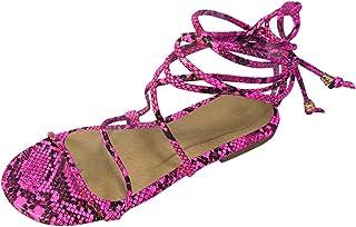 Dames sandalen hoogte riempjessandalen slangenhuidpatroon comfortabele platte strandsandalen slingback peep toe zomer outd...