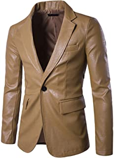 Elonglin Men's Faux Leather Blazer Slim Fit One Button Casual Business Suit Jacket Classic Solid Notched Lapel Jacket Coat