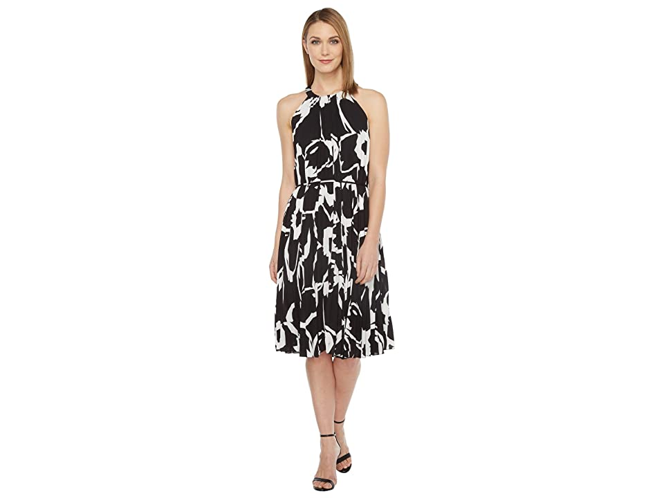 Vince Camuto Cut Out Floral Pleated Belted Halter Dress (Rich Black) Women