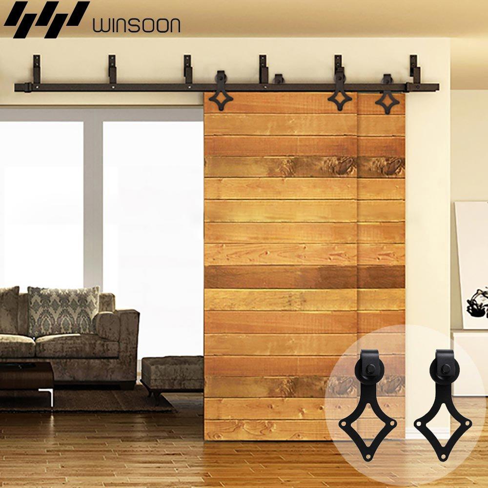 winsoon Bypass Rhombus Forma moderna puerta corrediza de granero madera Hardware armario rodillo rodillo de servicio pesado de acero pista Kit Negro: Amazon.es: Bricolaje y herramientas