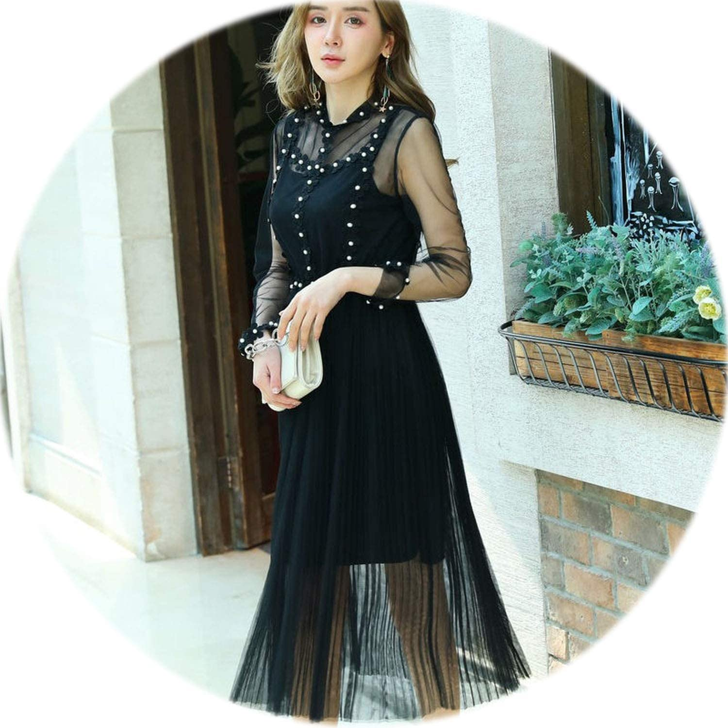 Rather be Elegant Flowers Pearls Lace Full Sleeve Long Sleeve High Waisted Mesh Transparent Sweet Party Dresses Vestidos