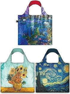 LOQI Mixed Museum Reusable Bags (Set of 3), Van Gogh + Water Lilies