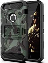 Halwen iPhone 5 Case, iPhone 5S Case and iPhone SE/SE 2 Case, Man Armor Soldier Kickstand Military Case Three Layer Protective Shockproof Cover for Apple iPhone 5/5S/SE/SE2 – Camouflage