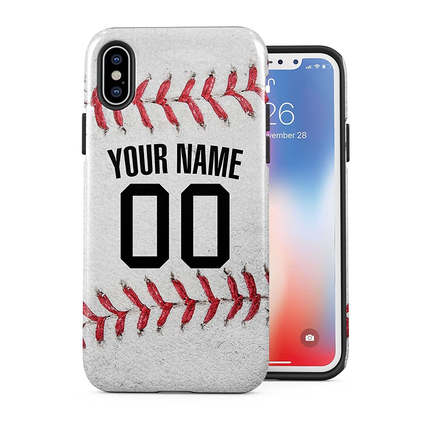 Baseball Personalised Customizable Custom Name Initial Text Baseball Ball Create Your Own Sports Gift Present iPhone Xs Max Case 2 Piece Dual Layer PC + TPU Heavy Duty Protection Cover jngwmludtft0