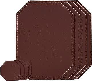 Nikalaz Dark Burgundy Octаgon Set of Placemats and Coasters, 4 Table mats and 4 Coasters, Place mats 15.75'' x 11.81'' and Coasters 3.94'' x 3.94'', Italian Recycled Leather, Dining Table Set