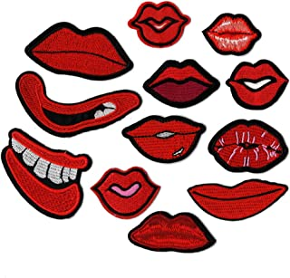 Lip Mouth Kiss Smooch Love Iron On Patches Sewing Embroidered Applique for Jacket Clothes Stickers Badge DIY Apparel Accessories (Style 2 (12pcs))