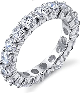 3.50MM Sterling Silver 925 Eternity Ring Engagement Wedding Band Ring with Cubic Zirconia CZ