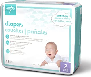 Medline MBD2002 Baby Diapers, Size 2, 12-18 lb. (Pack of 200)