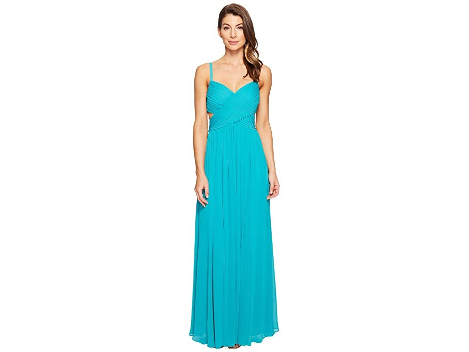 Laundry by Shelli Segal Crisscross Front Pleated Gown (Tropical Green) Women