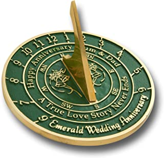 The Metal Foundry 55th Emerald Wedding Anniversary 2019 Sundial Gift Idea is A Great Present for Him, for Her Or for A Couple to Celebrate 55 Years of Marriage