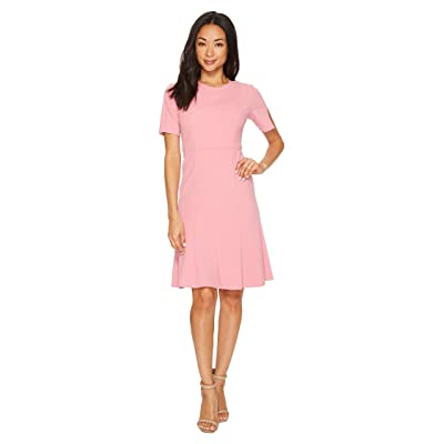 Donna Morgan Short Sleeve Knitted Crepe Fit and Flare Dress (Pink Sherbet) Women