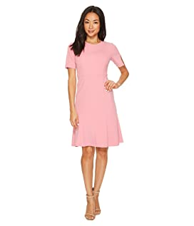 Short Sleeve Knitted Crepe Fit and Flare Dress