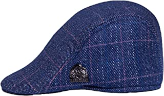 Mens Blue Check Flat Cap available in S//M or L//XL