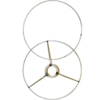 Lamp Shade Ring Set to Make a DIY Drum Ring Lamp Shade - European Style Fitter - Strong Galvanized Steel Ring for Lamp Shade - 16 Inch Diameter