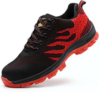 SUADEX Work Shoes for Men and Women, Industrial Construction Outdoor Casual Steel Toe Sneakers, Waterproof Puncture Proof Safety Unisex Footwear, Red-42