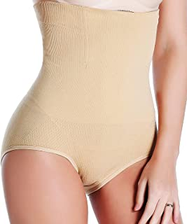 Costafrey® Women's High Waist Shapewear with Anti Rolling Strip Tummy Control Tucker(Fits 30-38 Waist Size)