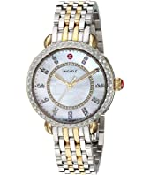 Michele - Sidney Classic White Mother-of-Pearl with Diamonds, Two-Tone Silver/Gold