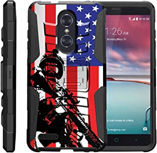 TurtleArmor | Compatible with ZTE ZMax Pro Case | ZTE Blade X Max Case | ZTE Carry [Hyper Shock] Rugged Hybrid Shell Kickstand Silicone Holster Belt Clip Military War Camo - American Soldier