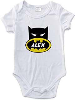 LolaPix Body Personalizado Bebé con Nombre. Regalos Personalizados para Bebés. Bodies Personalizados Manga Corta. Varias Tallas. Batman