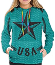 Harry wang Sudadera con Capucha para Mujer Logotipo de Estilo Retro de Texas, EE. UU. con Sudadera con Estrella grabada