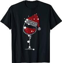 Red Wine Glass Christmas Tee Funny Santa Hat Xmas Gift T-Shirt