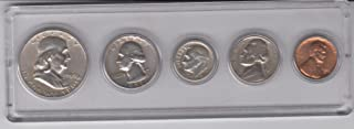 1959 Birth Year Coin Set (5) Coins - Silver Half, Silver Quarter, Silver Dime, Nickel, and Cent all Dated 1959 and Encased in a Plastic Display Case Fine