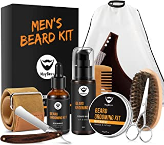 MayBeau Beard Grooming Kit for Men 10 in 1 – Best Beard Kit for Men Includes Straight Razor, Leather Strop, Beard Apron Bib, Shaping Tool, Brush, Oil, Comb, Balm, Wash, Scissors for Beard Care