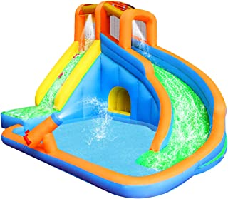 RETRO JUMP Inflatable Slide Bouncer, Pool Water Slide Climber Castle Bounce House Waterslide for Kids Backyard with Blower