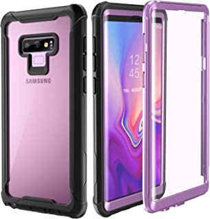 FITFORT Samsung Galaxy Note 9 Cell Phone Case - Full Body Case with Built-in Touch Sensitive Anti-Scratch Screen Protector, Ultra Thin Clear Shock Drop Proof Durable Protective Cover (Purple)