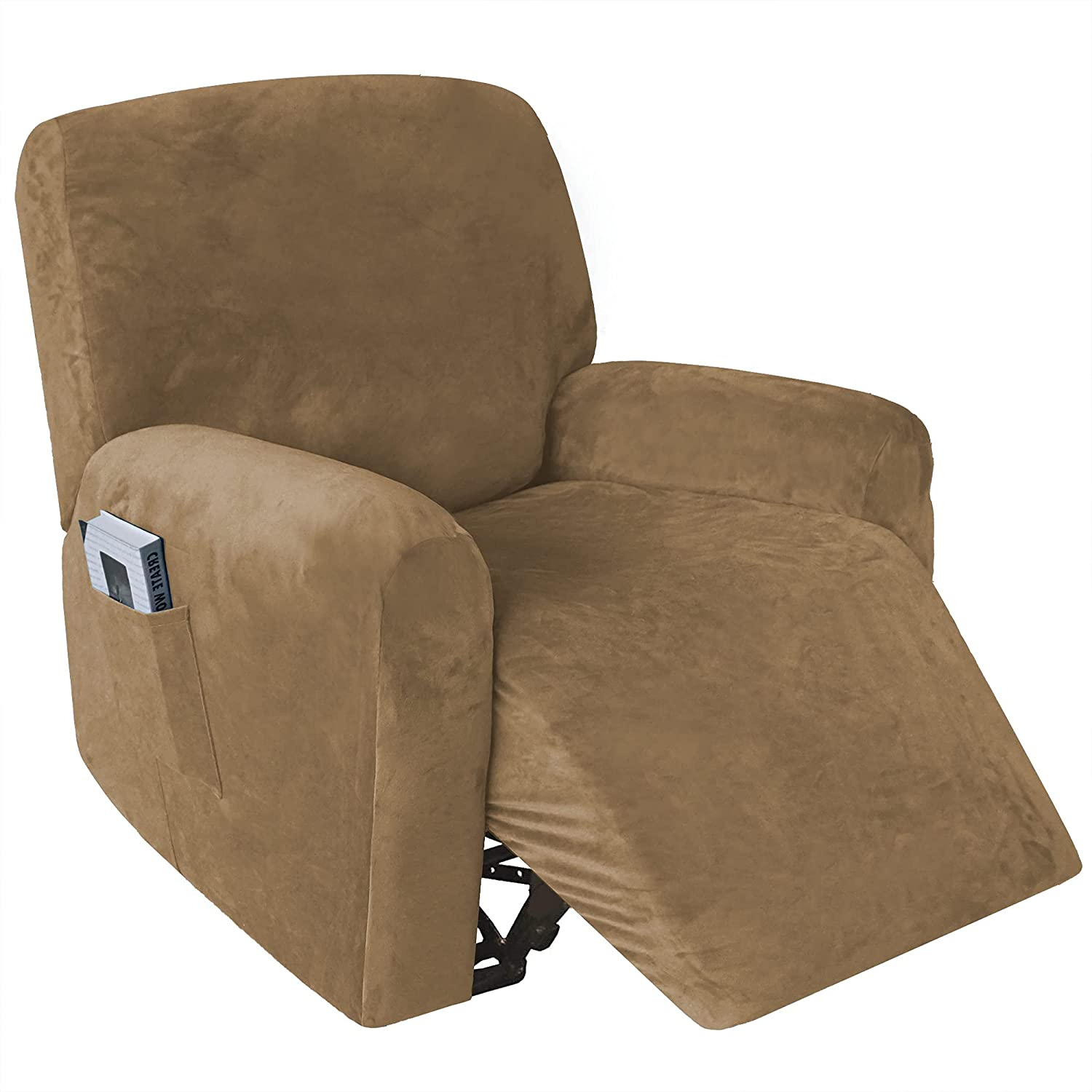 4 Limited time cheap sale Pieces Stretch Velvet Recliner Chair Max 44% OFF Lazy Covers Thick Soft