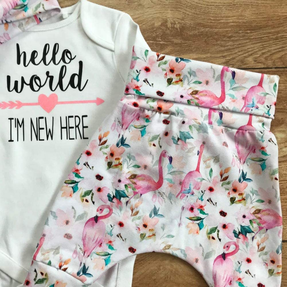 BOBORA Baby Girl Clothes Newbron Infant Girls 3PCs Long Sleeve Letter Prints Romper with Floral Pants Headband Outfits Set