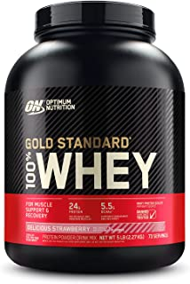 Optimum Nutrition 100% Whey Gold Standard, Delicious Strawberry, 5lbs